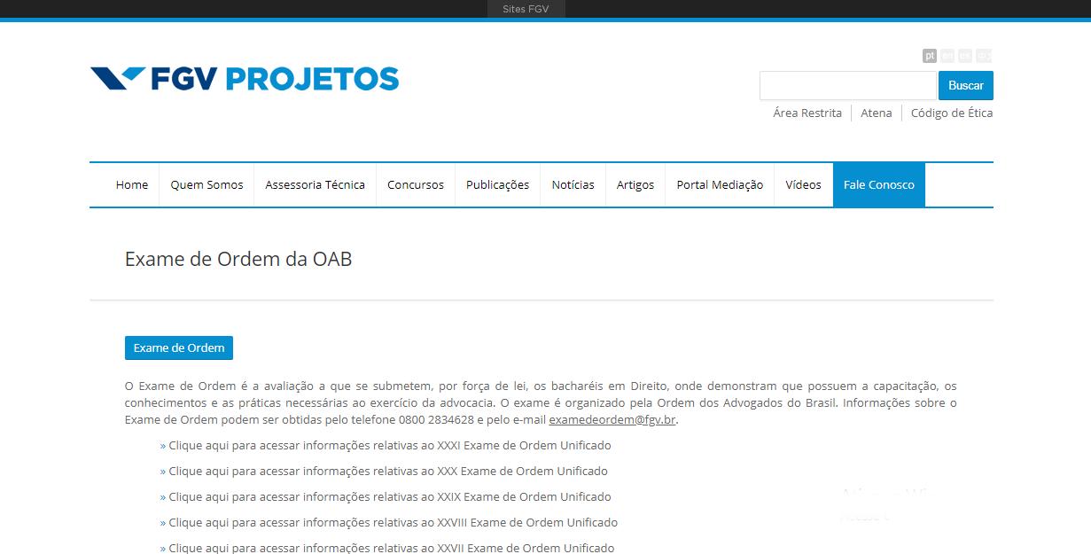 Portal FGV baixar provas OAB